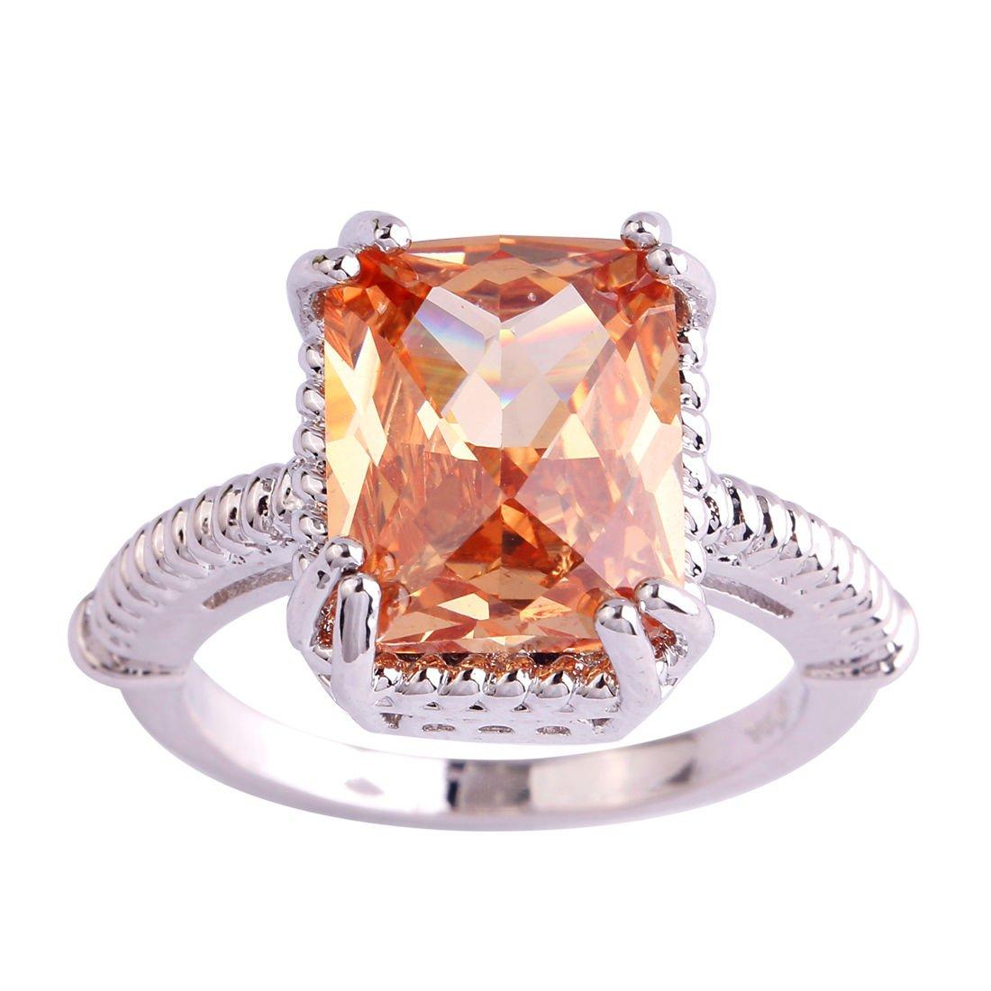 Square Stone Cut Morganite CZ Slim Ring