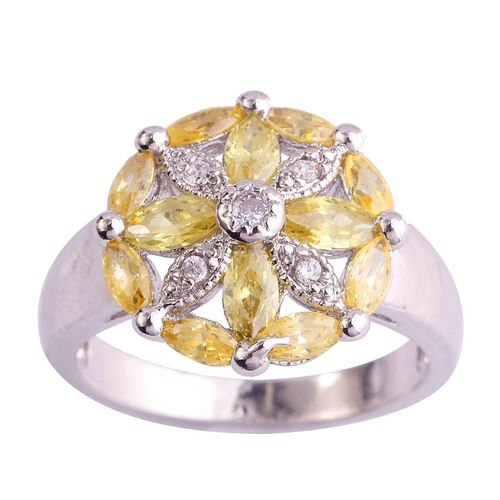 Women Party Jewelry Yellow CZ Ring