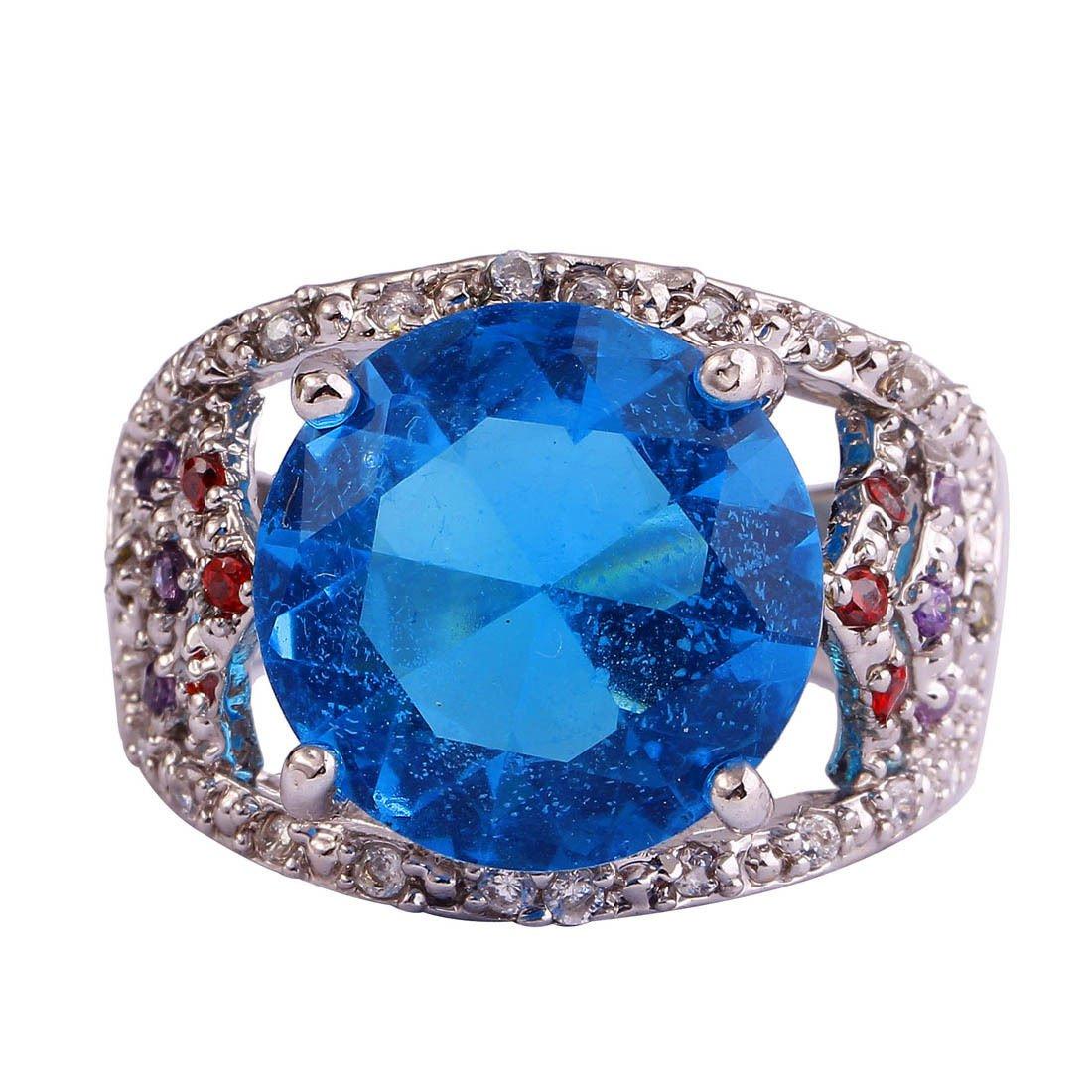 Round Cut Blue CZ Ring Sz 8