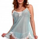 Print Gingham-Check Stretch Mesh Baby-Doll.