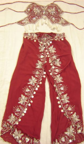 Red Belly Dance Top & Pant Set -- V0292