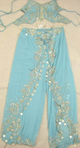 Light Blue Belly Dance Top & Pant Set -- V0289
