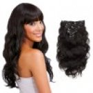 7pcs Body Wavy Clip In Remy Hair Extensions #1B Natural Black 16 inch