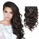 7pcs Body Wavy Clip In Remy Hair Extensions #2 Darkest Brown 16 Inch