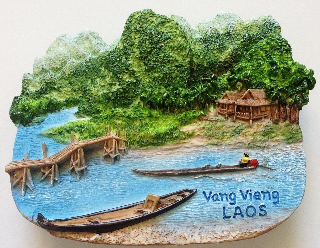 Nam Song River Vang Vieng LAOS High Quality Resin 3D fridge magnet
