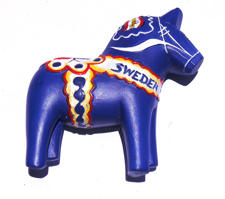 Blue Swedish Dala Horse Sweden High Quality Resin 3D fridge magnet