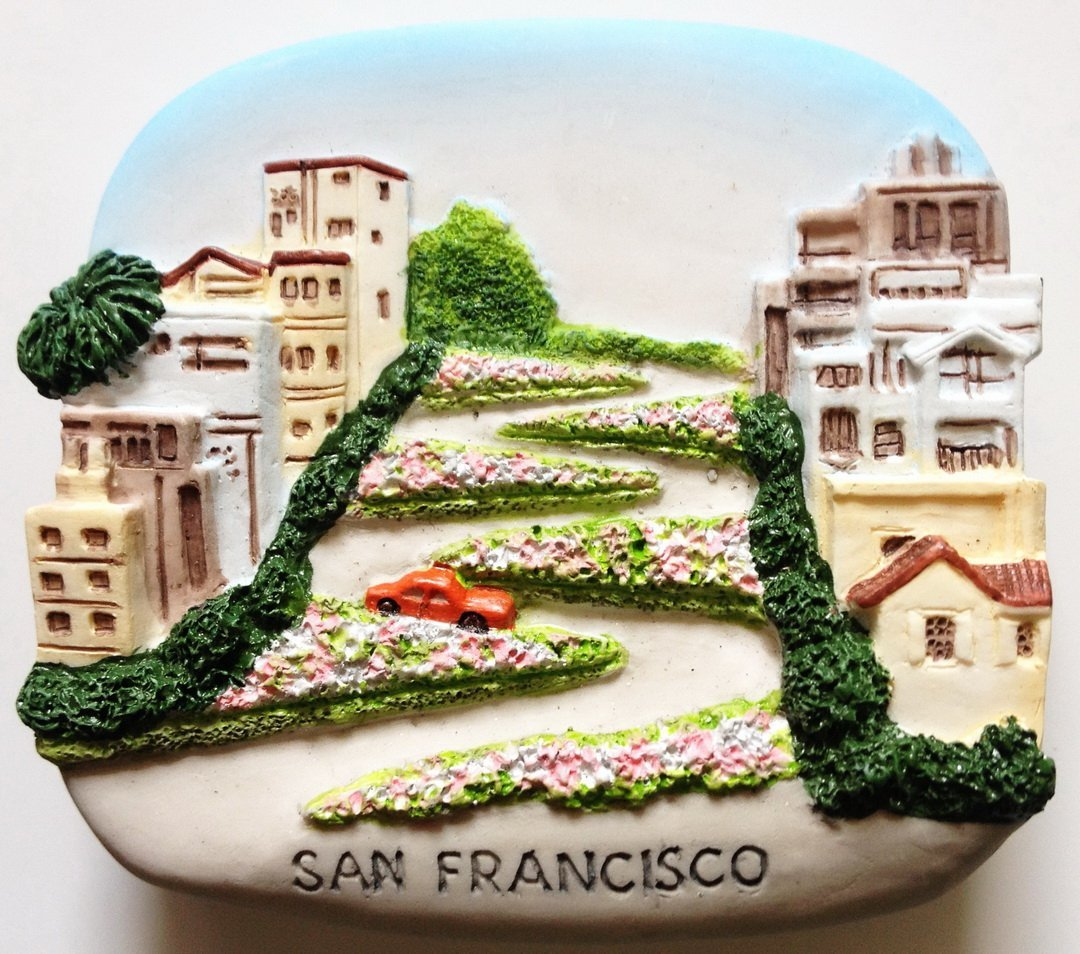 Lombard St.San Francisco USA High Quality Resin 3D fridge magnet