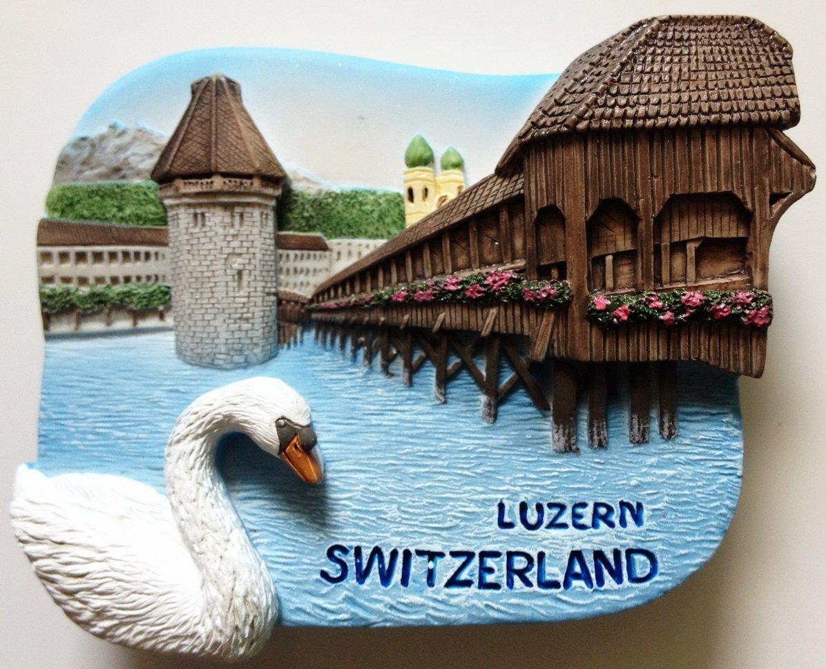 Chaple Bridge Water Tower Luzern Switzerland High Quality Resin 3D fridge magnet