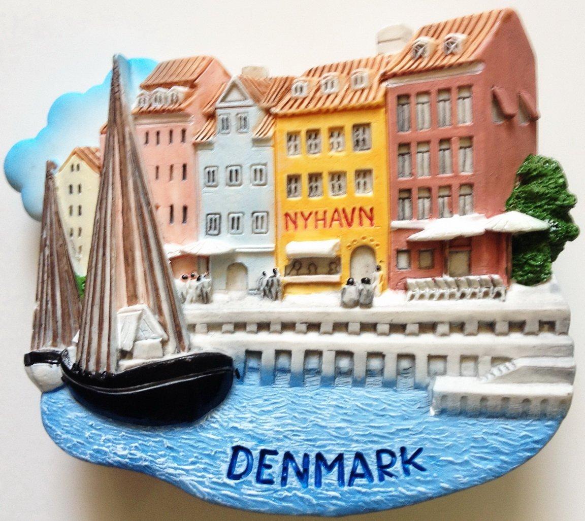 Nyhavn Harbor in Copenhagen Denmark High Quality Resin 3D fridge magnet