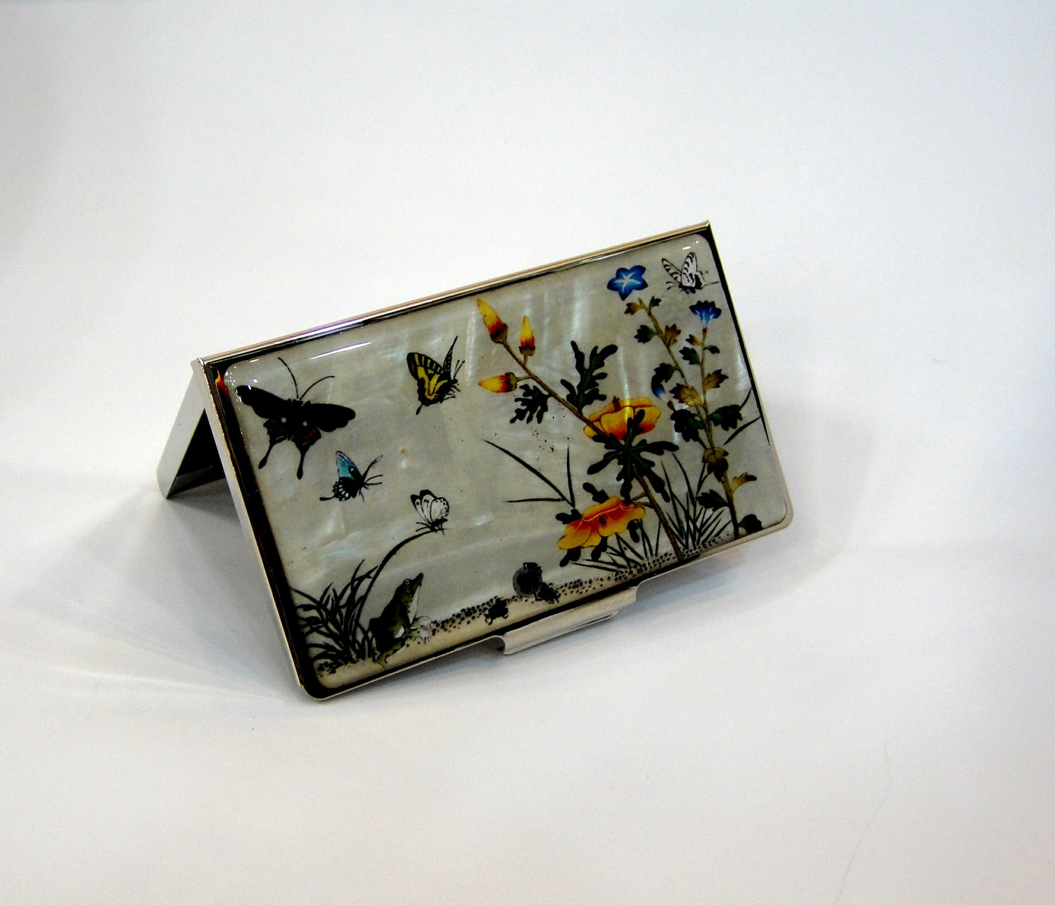 pretty namecard business card case holder unique Mother Of Pearl manufactured in korea a3