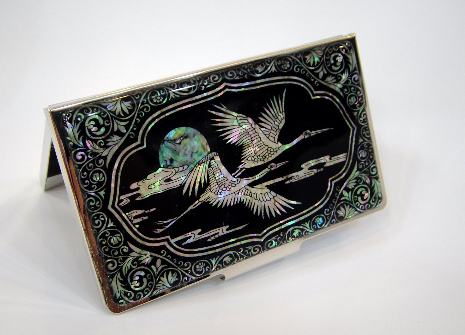 oriental business card holder christmas gift for father handcrafted with mother of pearl a7