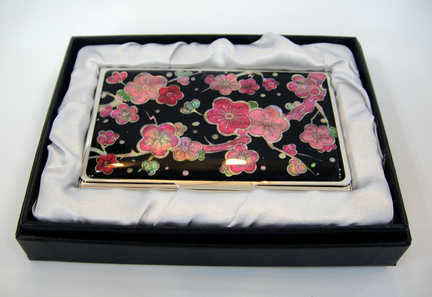 oriental business card holder christmas gift handcrafted with mother of pearl  a10
