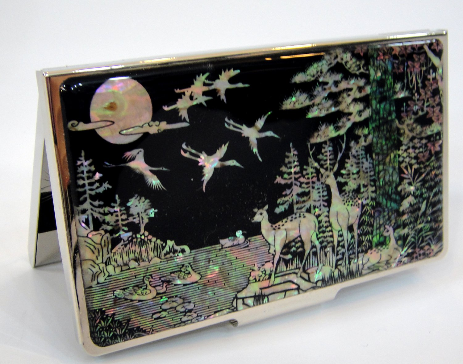 oriental business card holder christmas gift for father handcrafted with mother of pearl  a9