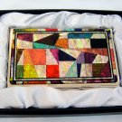 oriental business card holder christmas gift for father handcrafted with mother of pearl  a11
