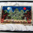 oriental business card holder christmas gift for father handcrafted with mother of pearl  a13
