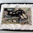 oriental business card holder christmas gift for father handcrafted with mother of pearl  a12