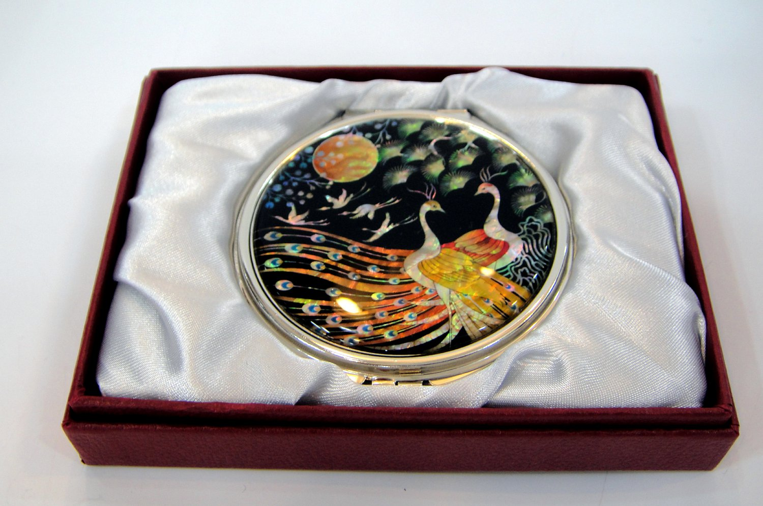 oriental mother of pearl lacquered pretty cosmetic hand mirror b7