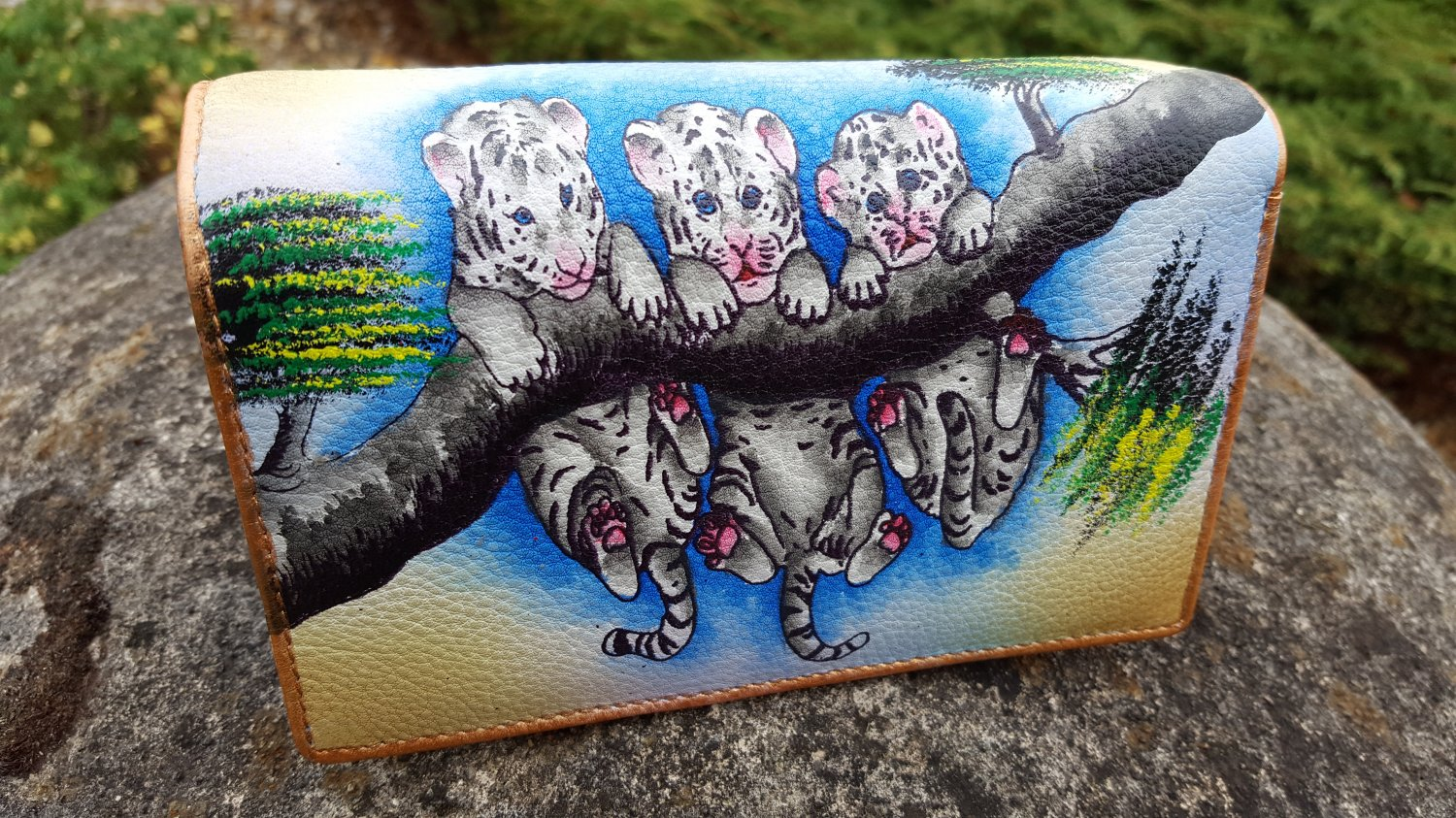 Genuine Leather Wallet french wallet, leather card organizer Large Womens Coin Purse Hand Painted