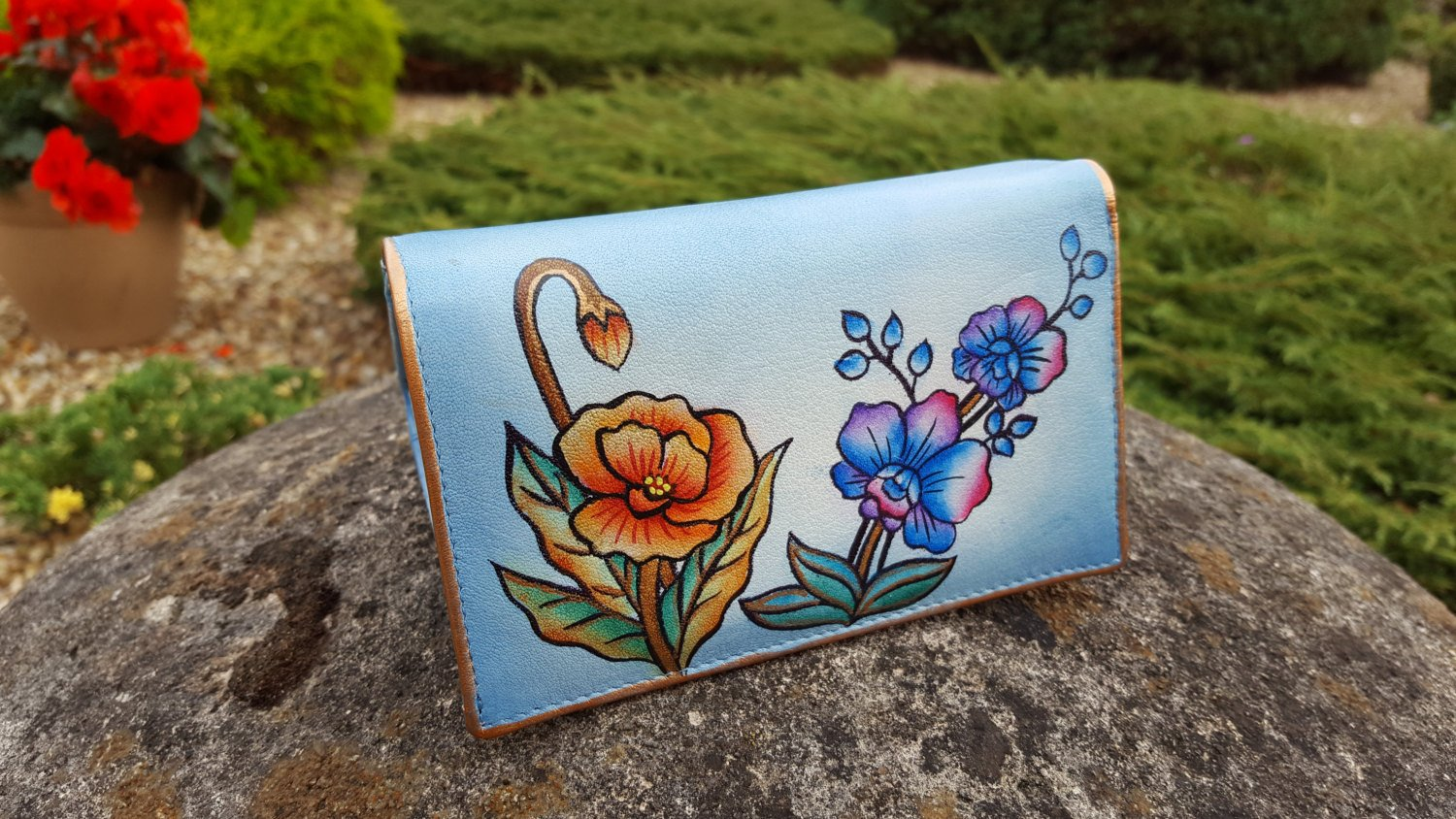 Genuine Leather Wallet Money Card Organizer Large Womens Coin Purse Hand Painted