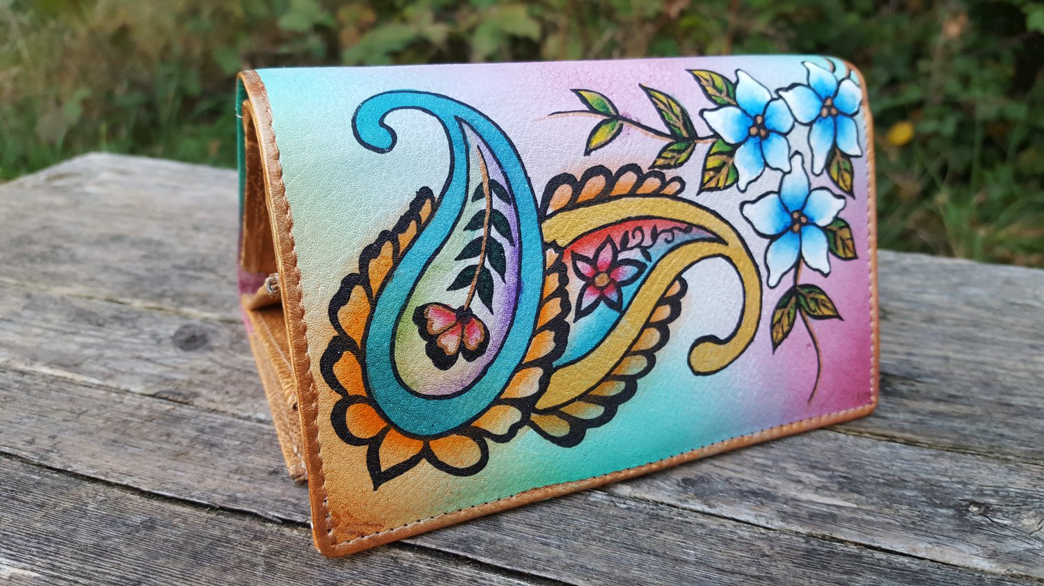Genuine Leather Wallet Money Card Organizer Large Womens Coin Purse Hand Painted  Gifts For Women