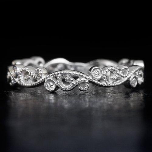 Diamond Wedding Band Art Deco Inspired 14K White Gold Floral Filigree