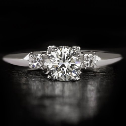 EXCELLENT CUT VINTAGE 1 CARAT ROUND DIAMOND ENGAGEMENT RING COCKTAIL WHITE GOLD