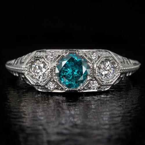 1/2ct FANCY BLUE DIAMOND 3 STONE VINTAGE ENGAGEMENT RING ART DECO 14K WHITE GOLD