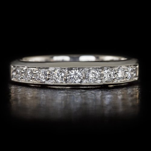 IDEAL CUT F-G VS ROUND DIAMOND WEDDING BAND STACKING COCKTAIL RING 14K W GOLD