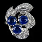VINTAGE 1.70 NATURAL SAPPHIRE 1/2ct F VS DIAMONDS RETRO COCKTAIL RING WHITE GOLD