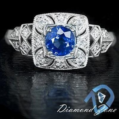 NATURAL ROYAL BLUE SAPPHIRE ART DECO DIAMOND ENGAGEMENT COCKTAIL VINTAGE RING