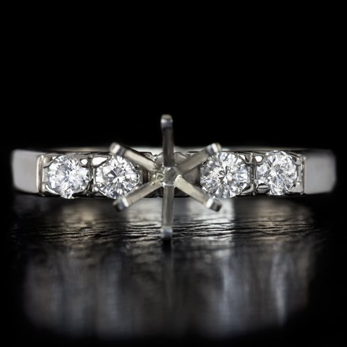 IDEAL CUT ROUND DIAMOND 6mm 1ct SEMI-MOUNT ENGAGEMENT RING SETTING WHITE GOLD
