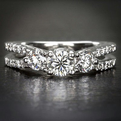 1ct 3 STONE HEARTS & ARROWS EXCELLENT CUT DIAMOND ENGAGEMENT COCKTAIL RING 14K