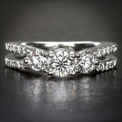 1ct 3 STONE HEARTS & ARROWS EXCELLENT CUT DIAMOND ENGAGEMENT COCKTAIL RING 14K