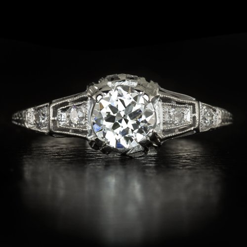 1930s ART DECO VINTAGE G-H VS1 OLD EUROPEAN CUT DIAMOND PLATINUM ENGAGEMENT RING