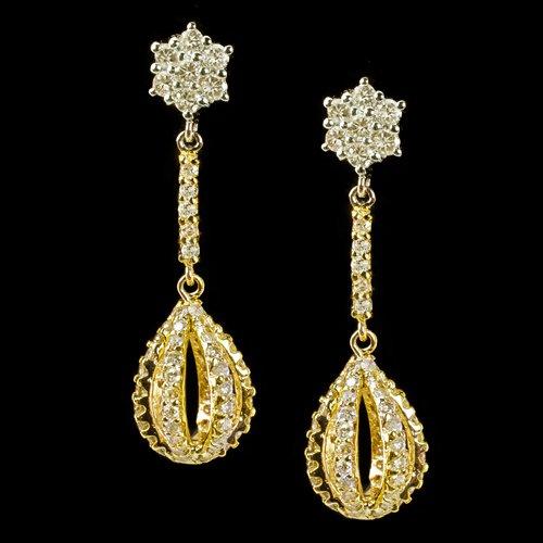 2 CARAT VINTAGE DIAMONDS DANGLE DROP EARRINGS TEAR DROP CLUSTER 18K 2 TONE GOLD