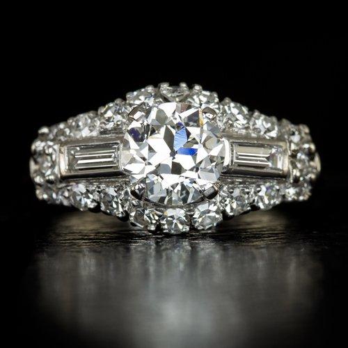 1.50ct EGL-USA VINTAGE DIAMOND PLATINUM ENGAGEMENT RING ART DECO ANTIQUE OLD EU