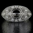 VINTAGE ROUND DIAMOND 1/4ct SEMI-MOUNT RING BEZEL SETTING DOME FILIGREE ART DECO