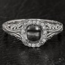 VINTAGE FILIGREE 1/4C DIAMONDS CUSHION SETTING SEMI-MOUNT 14K FILIGREE RING HALO