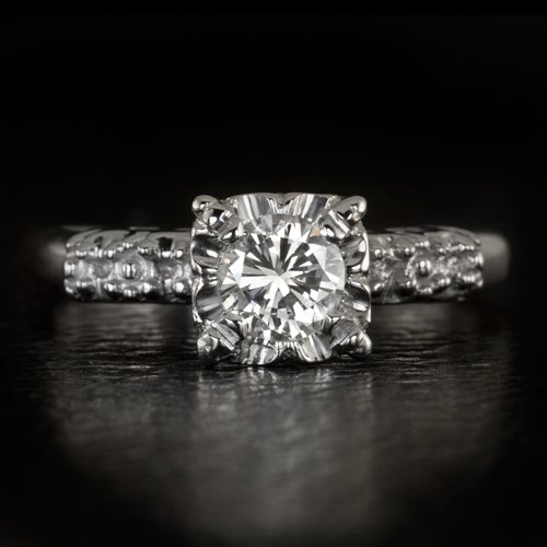 1956 VINTAGE 1/2ct E VS2 ROUND DIAMOND ENGAGEMENT RING EGL-USA OLD CUT RETRO