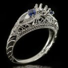 1920 VINTAGE SEMI MOUNT 5MM ROUND FILIGREE SAPPHIRE RING SETTING 3 STONE ANTIQUE