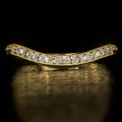 CURVED DIAMOND WEDDING BAND VINTAGE RING 14K YELLOW GOLD ART DECO SHADOW NOTCHED