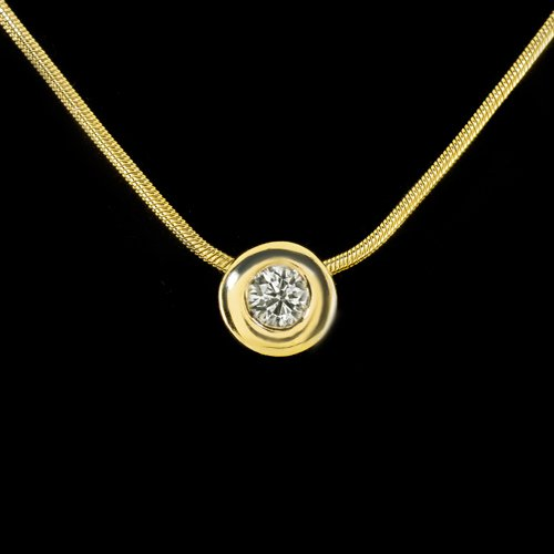 ROUND BRILLIANT CUT DIAMOND BEZEL SET NECKLACE 18 INCH CHAIN 14K YELLOW GOLD
