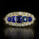 ANTIQUE OLD MINE CUT DIAMOND  SAPPHIRE ART NOUVEAU 18K YELLOW GOLD RING VINTAGE