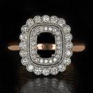 VINTAGE 2 ROW HALO DIAMOND RING SETTING CUSHION EMERALD CUT SEMI-MOUNT ROSE GOLD