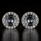 DIAMOND HALO SETTING 3MM-8.7MM ROUND STUD EARRING SEMI MOUNTS 1CT -4CT