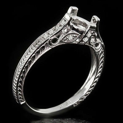 VINTAGE ANTIQUE DIAMOND 6.5mm 7m SEMI-MOUNT SETTING ENGAGEMENT RING 14K FILIGREE