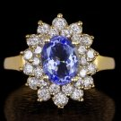 NATURAL 1.25ct DIAMOND 2.25c TANZANITE HALO COCKTAIL RING 14K GOLD LARGE CLUSTER