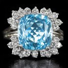 6 CARAT RICH AQUAMARINE CUSHION G-H VS DIAMOND COCKTAIL RING RARE 13.5K VINTAGE