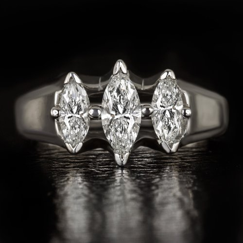 1 CARAT MARQUISE CUT DIAMOND 3 STONE ENGAGEMENT COCKTAIL RING WHITE GOLD 6 GRAMS