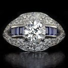 VINTAGE 1.88ct OLD EURO CUT 1.16 I SI1 DIAMOND SAPPHIRE ENGAGEMENT RING COCKTAIL